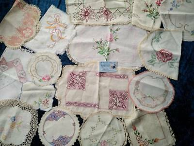 Bulk 16 Vintage Cross-stitch centres/doilies  Use or craft? VGC & lots extra