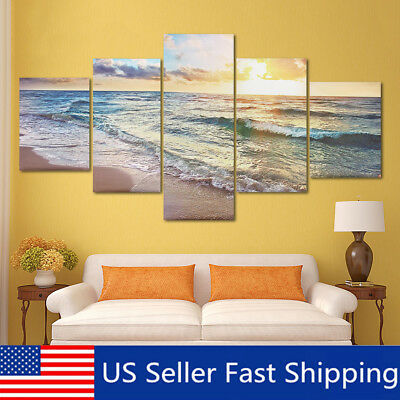 5Pcs Sea Beach Canvas Modern Painting Print Home Room Art Wall Decor Unframed