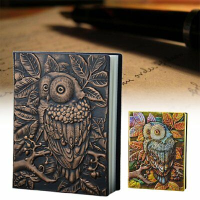 Owl Diary Journal Notebook Vintage Book PU Leather Classic Cover Antique Blank