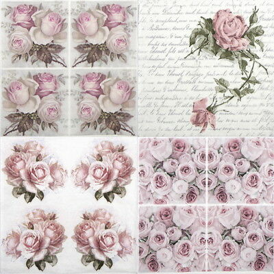 4x Paper Napkins for Decoupage Decopatch Sagen Rose Bouquet Mix