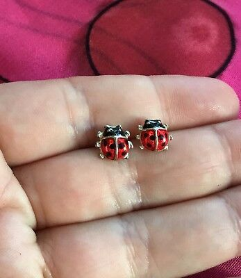 Vintage Antique Silver Enamel Lady Bug Beetle Cute Stud Earrings Estate Find Vtg