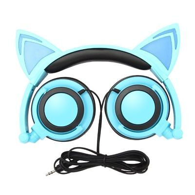 Blue Cat Ear Headphone Foldable Over-Ear Gaming Headset Earphone w/LED Flashing