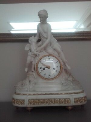 French Louis XVI  marble and ormolu mantel clock