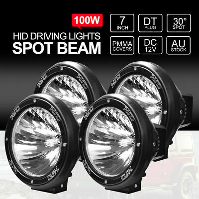 2Pair 7 inch 100W HID Driving Lights XENON Spotlights Offroad 12V Spiral Black