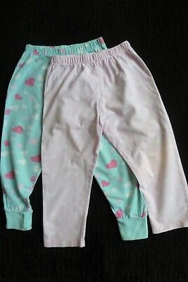 Girls clothes 2-3 years x2 pairs pyjamas bottoms/trousers lightweight cotton