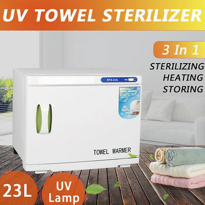 23L UV Towel Sterilizer Cabinet Warmer Disinfection Heater Hot Salon Spa Beauty