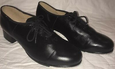 Bloch Womens Size 11.5 Lace Up Tap Shoes Black Leather