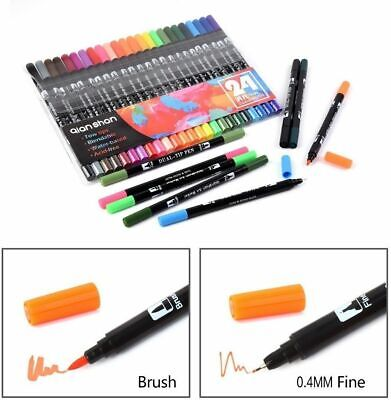 24 Colours Brush Fineliner Art Drawing Manga Soft Sketch Markers Pen Twin Tips