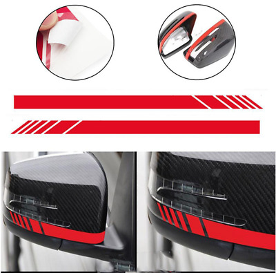 2PC 5D Carbon Fiber Car Auto Rear View Mirror Stripe Sticker Warn Safety Dcals