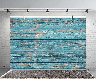 Retro Blue Wood Plank 3x2ft Photography Backgrounds Studio Photo Backdrops Prop
