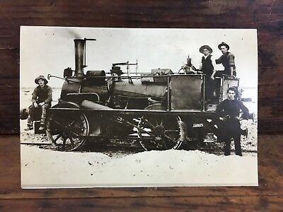 """'a Steam Engine On The Hobsons Bay Line"""" Victoria Aust Duotone Blank Post Card"""