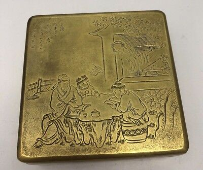 Antique Chinese Brass Engraved Ink Box 2) - Marked