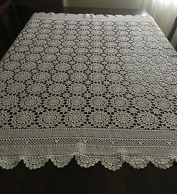 CROCHET  Beige, Square Tablecloth 135x135cm & 2 White Table Runners - Lovely