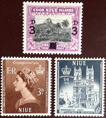 Niue 1953 Coronation & 1940 Surcharge MH