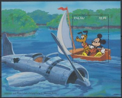 Disney Cartoons Mickey a& Friends Visit Palau S/Sheet WWII Airplane MNH #DS280