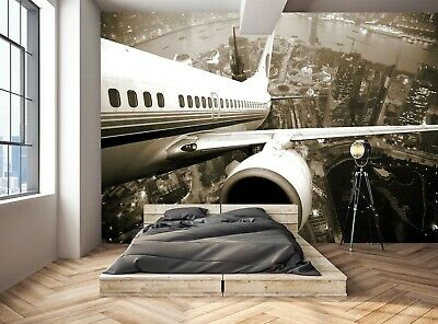 Airplane and City at Night  Photo Wallpaper Wall Mural DECOR Paper Poster