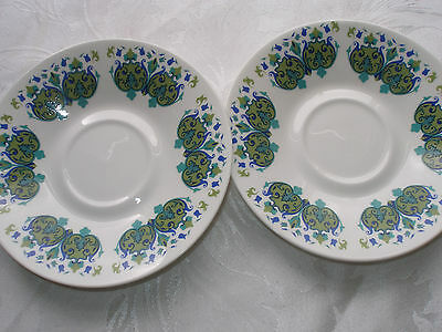 Vintage Royal Vale Blue Green Retro Pattern Pair of China Saucers