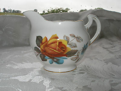 Vintage Royal Vale Yellow and Blue Rose Floral China Milk Jug Pattern 8215