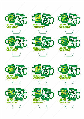 Novelty Macmillan Mugs Coffee Morning Stand Up Cake Cupcake Toppers Edible Funds