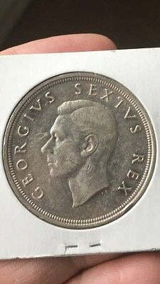 1949 South Africa 5 Shilling Coin; Silver coin