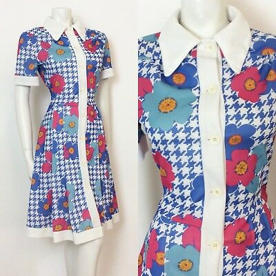 Vintage 70S Floral Hounds Tooth Blue White Pink Orange Shirt Dress 10 12