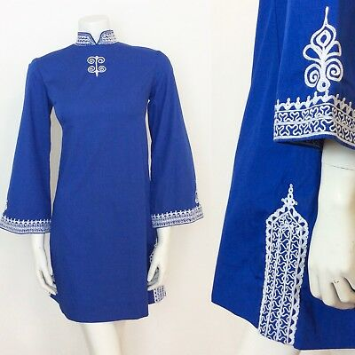 Vtg 60S Cotton Royal Blue Ethnic Psychedelic Embroidered Mini Dress 8 10