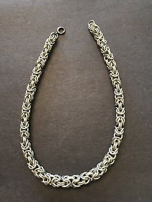 "Stunning Large Solid STERLING SILVER BYZANTINE Link 13.5"" Choker 8mm NECKLACE"