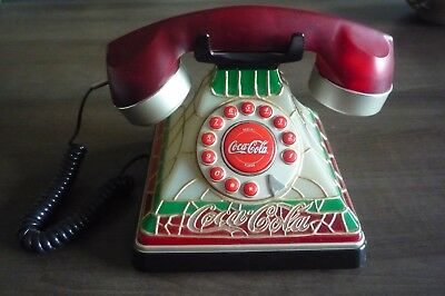 2001 Coke Coca-Cola Stained Glass look Telephone Nice Condition