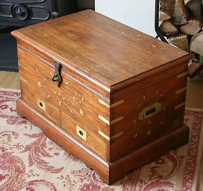 Vintage Pakistani Rosewood Brass Inlay Chest Coffer With Drawers Campaign Style