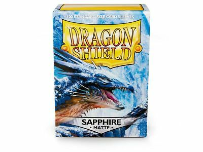 Dragon Shield Mat Sapphire 100 Protective Sleeves Cases Standard arcanetinmen