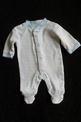 Baby clothes BOY premature/tiny<6lbs/2.7kg white/blue stripe babygrow SEE SHOP!