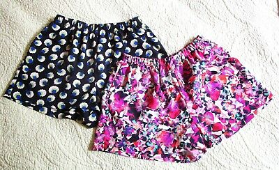 LOT of 2: Collective Concepts Elastic Waist Print Flowy Shorts Size XS Excellent