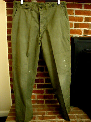 Vintage US Army WWII WW2 Era OD Green 13 Star Button Cotton Field Trousers Sz 37