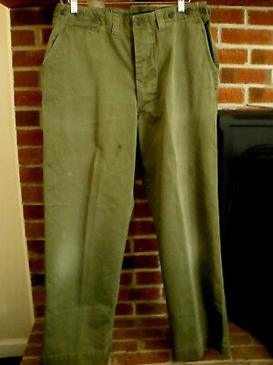 Vintage US Army WWII WW2 Era OD Green 13-Star Button Cotton Field Trousers Sz 37