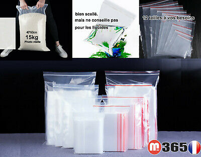 Lot Sachet plastique fermeture ZIP Transparent bag pochon Pochette sac sacoche