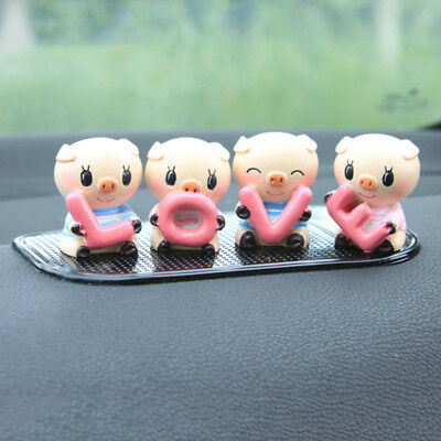 EP_ 4Pcs/Set Cute Cartoon LOVE Pig Resin Car Dashboard Doll Ornaments Decor Welc