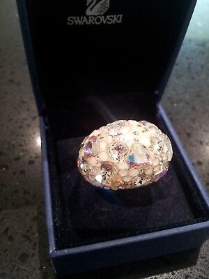 Stunning Genuine Swarovski Chic Crystal Hearts ring-Excellent Condition-Size 52