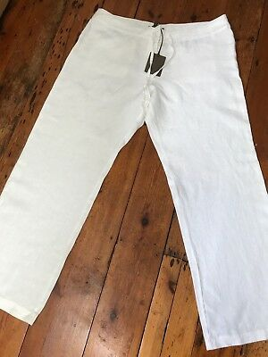 BNWT Tommy Bahama Two Palms white linen trousers - size US 16 (UK 20) cost $98
