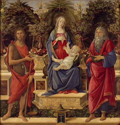 Sandro Botticelli Madonna with Saints Giclee Canvas Print Poster LARGE SIZE