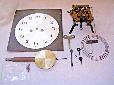 CLOCK  PARTS,MOVEMENt,CHIME, HANDS,PENDULUM ,KEY   a