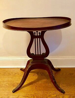 Mersman Oval Top Lyre Harp Base Mahogany Lamp Table