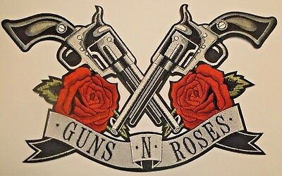 "Guns N' Roses~Cross Pistols Revolvers Patch (14"" x 8 1/2"") Embroidered~Iron On"