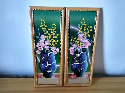 "2 Small Vintage Wall Hanging Plastic Frame Pictures 12"" x 4.5"""