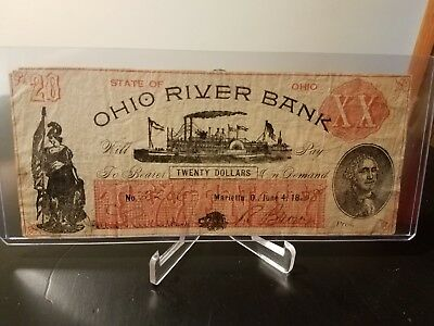 Obsolete $20 Ohio River Bank Marietta, OH June 4, 1838 No. 2206 Extremely Rare!