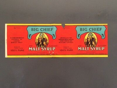 Big Chief Malt Syrup~Vintage HTF Paper Label-Jackson Brewery, New Orleans, LA