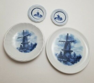 Vintage Set of 4 Butter Pats Delft Blauw Holland Blue