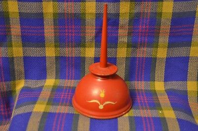 Vintage Red Painted EAGLE Brand Oiler w/Flower on Front-USA