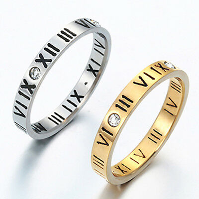 EP_ Punk Roman Numerals Rhinestone Stainless Steel Finger Couple Ring Gift Utili