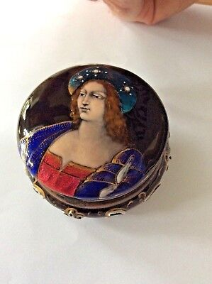Rare Fine Early Limoges Enamel Box with hinged lid 19th century