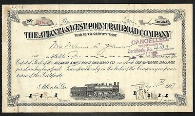 Stock Cert. - The Atlantic & West Point RR Co. - 1907